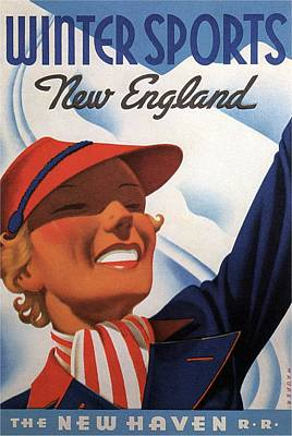 Sports Mixed Media - Winter Sports New England - The New Haven Rail Road - Retro travel Poster - Vintage Poster by Studio Grafiikka
