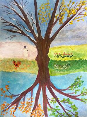 Painting - Winter Spring Summer Fall by Anne Sands