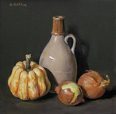 Painting - Winter Squash And Yellow Onions by Robert Holden