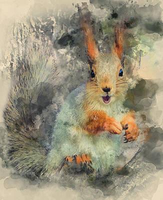 Digital Art - Winter Squirrel by Yury Malkov