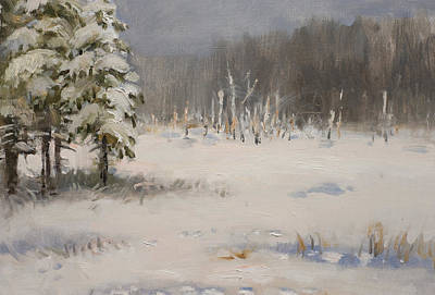 Painting - Winter Stillness. Fragment by Valentina Kondrashova