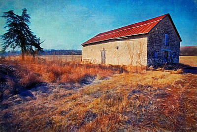 Photograph - Winter Stone Barn by Anna Louise