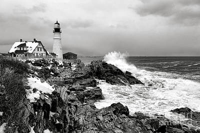 Winter Storm At Portland Head Art Print