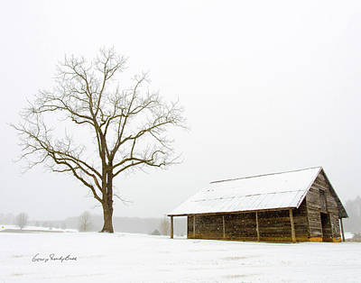 Winter Storm On The Farm Art Print by George Randy Bass