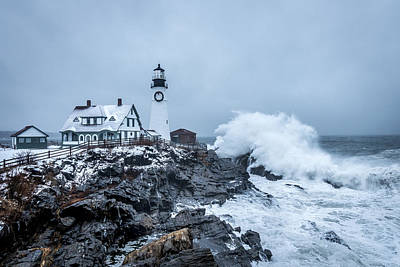 Winter Storm, Portland Headlight Art Print