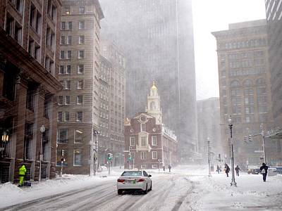 Photograph - Winter Storm Stella Hitting The Boston State Street by Toby McGuire