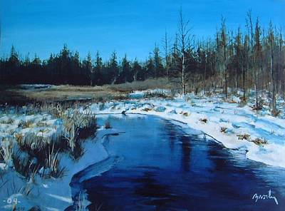 Winter Stream Art Print by William  Brody