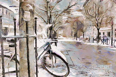 Mixed Media - winter street Stockholm  Sweden by Yury Bashkin