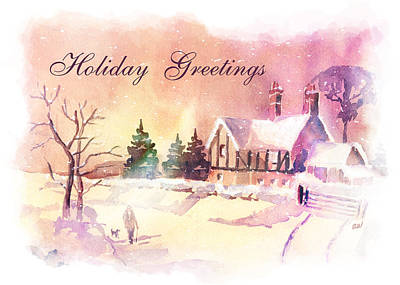Snow Scene Painting - Winter Stroll Card by Arline Wagner