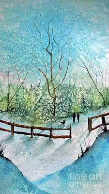 Painting - Winter Stroll With The Dog by Eunice Miller