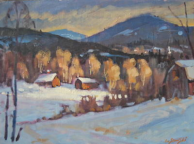 Barns In Snow Painting - Winter Study by Len Stomski