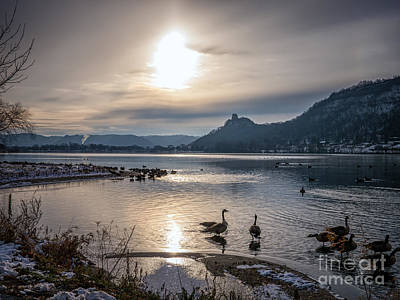 Winter Sugarloaf With Geese II Art Print