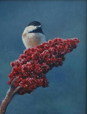 Winter Sumac And Chickadee Original by Steve Langenecker