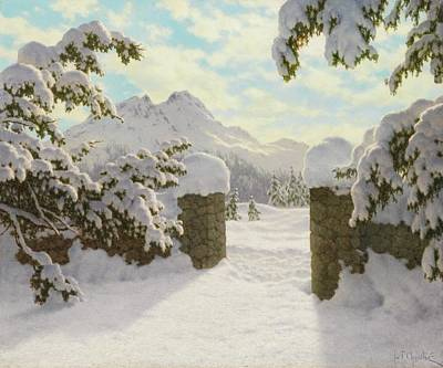 Switzerland Painting - Winter Sun In Switzerland by MotionAge Designs
