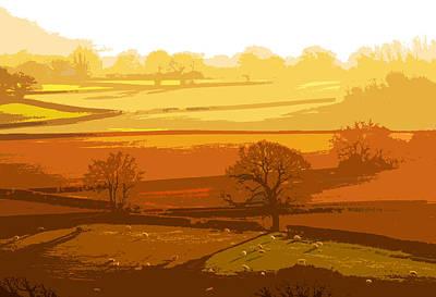 Digital Art - Lyth Hill 1 - Winter Sun  by Mary Castellan