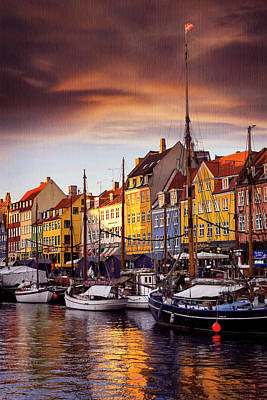 Harbor Scene Wall Art - Photograph - Winter Sun Over Nyhavn Copenhagen  by Carol Japp