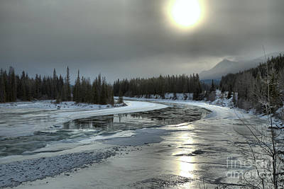 Photograph - Winter Sun Reflections Over The Athabasca by Adam Jewell