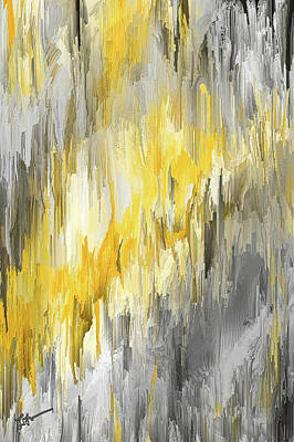 Painting - Winter Sun - Yellow And Gray Contemporary Art by Lourry Legarde
