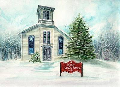 Painting - Winter Sunday Service - Country Church by Janine Riley