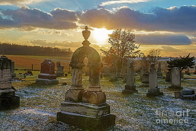 Photograph - Winter Sundown In Graveyard by David Arment