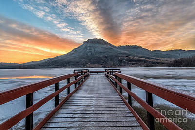 Photograph - Winter Sunrise At Flatiron Reservoir Located In Loveland, Colora by Ronda Kimbrow