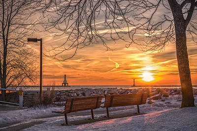 Winter Sunrise In The Park Art Print