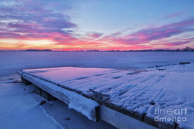 Photograph - Winter Sunrise On A Snow Covered Lake And Fishing Dock by Ronda Kimbrow