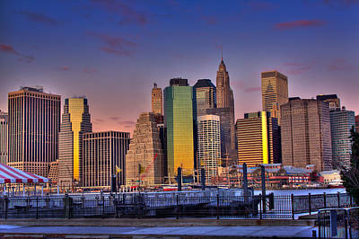 Photograph - Winter Sunrise Over Downtown Manhattan by Val Black Russian Tourchin