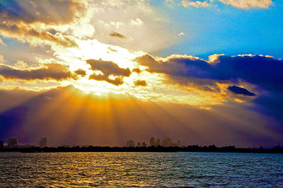 Winter Sunrise Over Miami Beach Art Print by William Wetmore