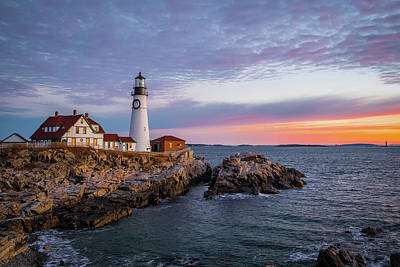 Photograph - Winter Sunrise Over Portland Head Light by Jesse MacDonald