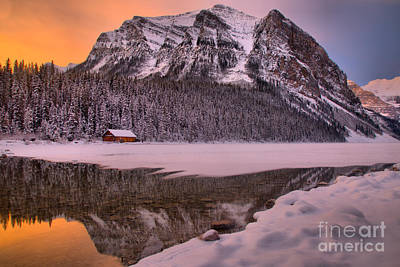 Photograph - Winter Sunrise Over The Lake Louise Boathouse by Adam Jewell