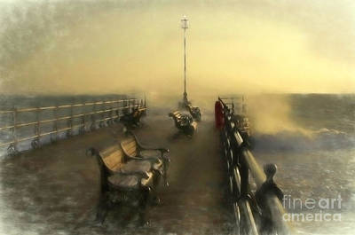 Mixed Media - Winter Sunrise, Swanage Jetty by Linsey Williams
