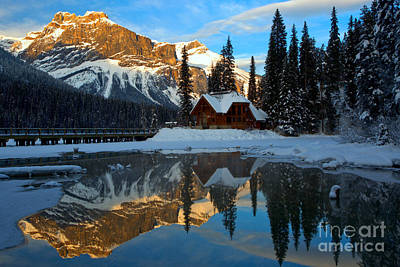 Photograph - Winter Sunset At Emerald Lake by Adam Jewell