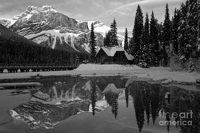 Photograph - Winter Sunset At Emerald Lake Black And White by Adam Jewell