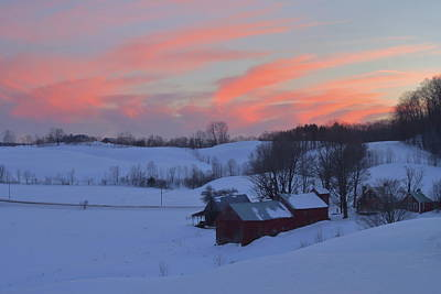 Photograph - Winter Sunset At Jenne Farm Vermont by John Burk