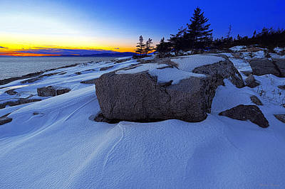 Photograph - Winter Sunset At Schoodic Point Maine by Marty Saccone