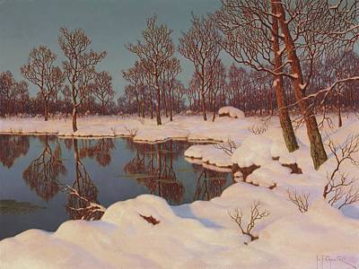 Painting - Winter Sunset By Ivan Fedorovich Choultse by Ivan Fedorovich Choultse