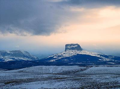 Photograph - Winter Sunset, Chief Mountain by Tracey Vivar