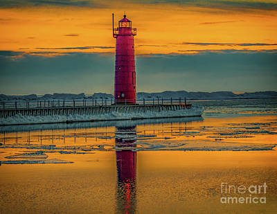 Muskegon Lighthouse Wall Art - Photograph - Winter Sunset In Muskegon Michigan by Nick Zelinsky