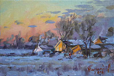 Snowed Trees Painting - Winter Sunset In The Farm by Ylli Haruni