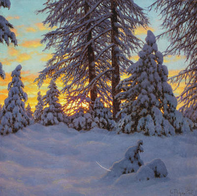 Sun Rays Painting - Winter Sunset by Ivan Fedorovich Choultse