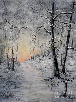 Snow Painting - Winter Sunset by Judy Kirouac