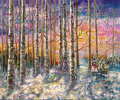 Digital Art - Dylan's Snowman - Winter Sunset Landscape Impressionistic Painting With Palette Knife by OLena Art Brand