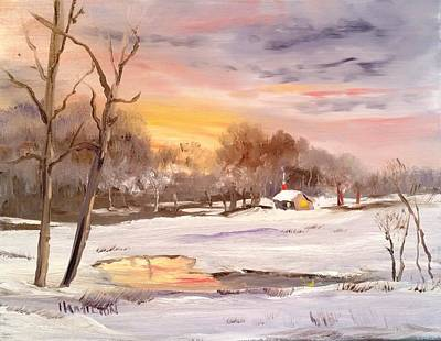 Painting - Winter Sunset by Larry Hamilton