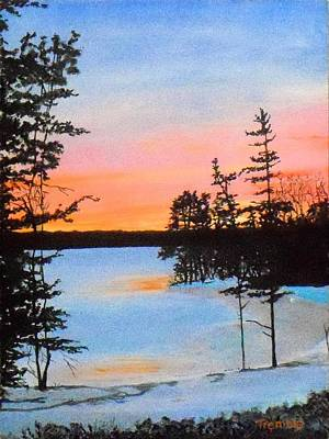 Winter Sunset Laurel Lake Lenox Ma Print by William Tremble