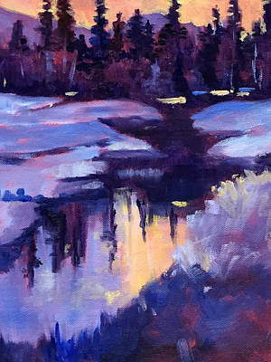North Cascades Painting - Winter Sunset by Nancy Merkle