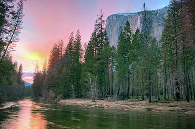 Photograph - Winter Sunset On Horsetail Falls by Connie Cooper-Edwards