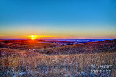 Photograph - Winter Sunset On The Flint Hills by Jean Hutchison