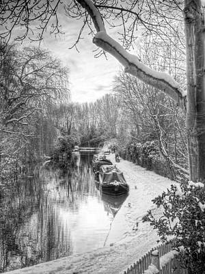 Photograph - Winter Sunset On The River In Black And White by Gill Billington