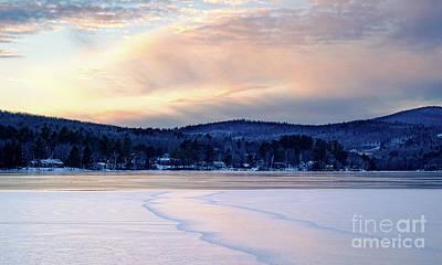 Photograph - Winter Sunset On Wilson Lake In Wilton Me  -78091-78092 by John Bald